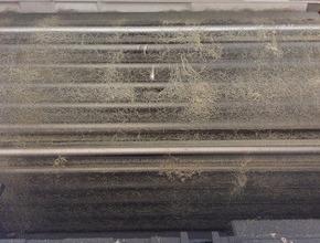 三菱製壁掛けお掃除機能付きエアコンクリーニング/山口市の施工前画像